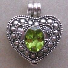 or Cremation Locket Pendant Handmade Sterling Silver Peridot Perfume-Keepsake