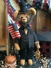 Prim Handmade Vintage Patriotic Folk Art Standing Americana ABE LINCOLN Bear