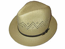 Ralph Lauren White Brown Leather Polo Panama Fedora Hat Brown Trim Cap