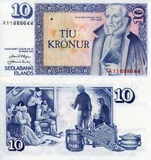 ICELAND 10 Kronur World Paper Money aUNC/XF Currency Pick p48 Sign set 38 Bill