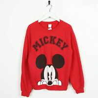Vintage Women's DISNEY Big Logo Mickey Mouse Sweatshirt Jumper Red | Small S