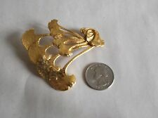 & Crafts Inspired, 2.5 x 3 Inch Handcrafted Gold Plate Pin, Ginkgo Leaves, Arts