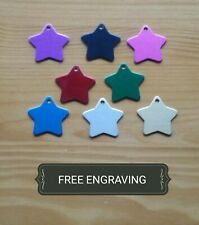 FREE ENGRAVING (PERSONALIZED) Aluminum Star (Pet) Collar Tag Charm