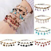 Boho Natural Stone Turquoise Crystal Bracelet Braided Bangle Lady Charm Jewelry