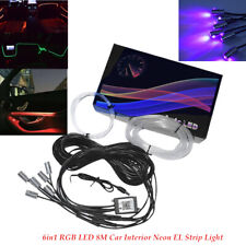 6in1 RGB LED DC12V 8M Fiber Optic Car Interior Neon EL Strip Light bluetooth Kit