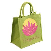 HAPPINESS JUTE SHOPPING BAG pink lotus & lime green fair trade eco shopper NEW!