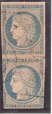 France: Scott 006, pair vertical, used, VF, Cat 65 $, Euros 90. FR057