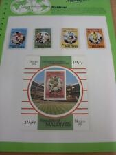 circa 1986 World Cup Mexico,  5 Maldives Stamps, Taken From the World Cup Master