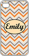 Personalized iPhone 4 4S Monogrammed Orange and Gray Chevron Hard Case Cover