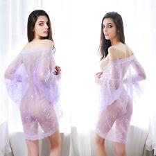 Sexy Lingerie Night Robe G-String Set Mesh Lace Gown Panty Set Bridal Nightwear