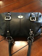 Fossil Maddox Satchel Black Pebbled Leather Silver Hardware Wonderful!!