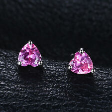4mm Bright Pink Sapphire Heart Earrings Solid Sterling Silver Stud Girls Gift