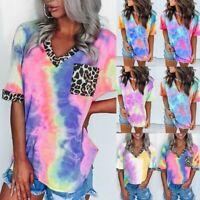 Women Tie-Dye Shirt Summer Leopard Patchwork V Neck Short Sleeve Top Blouse LIU9