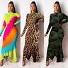Women Leopard Print Midi Dres Sexy Ladies Long Sleeve Party Bodycon Pencil Dress