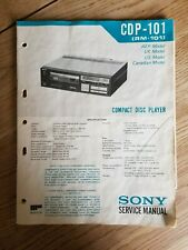 SONY CDP-101 CD PLAYER SERVICE MANUAL - GENUINE AND ORIGINAL