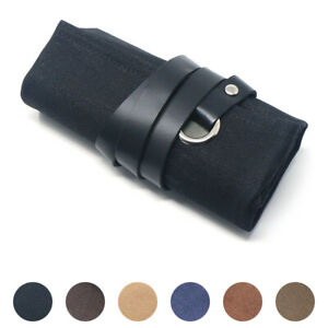 StrapsCo Waxed Canvas w/ Leather Interior Watch Roll Travel Pouch for 5 Watches