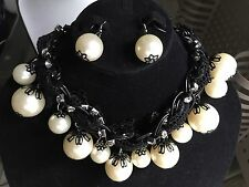 Gorgeous Wedding Bridal Rhinestone Crystal & Pearl Necklace Earrings Jewelry Set