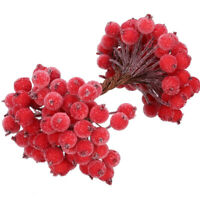 40Pcs Holly Berries Artificial Flowers Christmas Decorative Red Berry Home Decor