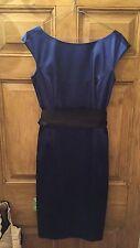Stunning Coast Ladies Satin Style Shift Dress Size 10 Evening Party Blue