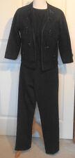 Vintage Black Wool Three Piece Beaded Sweater Top Pants Set Koldin Original B40
