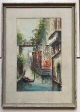 FRAMED WATERCOLOR VENICE CANAL SIGNED tiaza ? tihza ?