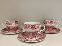Three WOOD & SONS Enoch Woods English Scenery Tea Cup Saucer Sets Pink EUC