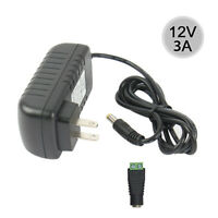 Power Supply AC to DC Adapter for 5050 3528 Flexible LED Strip Light 12V 3A 36W
