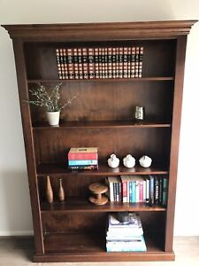 Walnut Stained Pine Large Bookcase 190 X 119