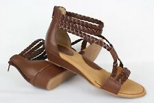Born Concept Women's Klara Braided Strap Wedge Sandals 7m Light Brown # Z29641