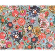 AS CREATION OILILY FLORAL PATCHWORK FLOWER MOTIF TEXTURED WALLPAPER BLUE RED