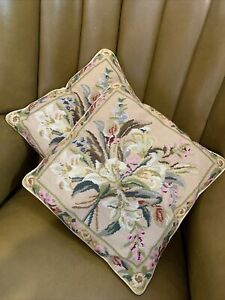 Vintage Hand Made Tapestry Botanical Flower Cushions  - Stunning -
