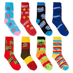Crazy Socks, Unisex, Food, 8 Pack Snacks, Crew Socks, Novelty Funny Crazy Silly