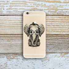 Cute Elephant Slim Rubber TPU Silicone Case Soft Cover for iPhone Samsung Huawei