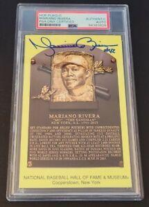 Mariano Rivera HOF 2019 YANKEES Autographed Yellow Baseball HOF Postcard PSA DNA
