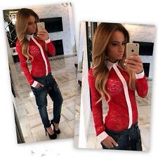 Langarmshirt Damen Spitze Bluse Tops Weißer Revers Fashion T-Shirt Schwarz Rot