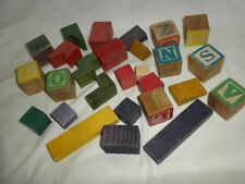 VTG (27) Colored Wooden BUILDING and ALPHABET Blocks