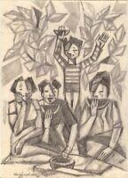 "Expressionist Bleistift Papier Chudinovskikh ""Leckere Wassermelone"" 29x21 cm"