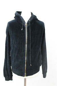 VERSACE Black Velvet Leather Medusa Hoodie size M