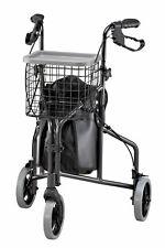 Foldable 3 Wheel Rollator Walker, Lightweight Aluminum, Black, Charcoal