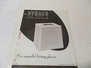Dynaco Super Fidelity Output Transformers Sales & Technical Brochure