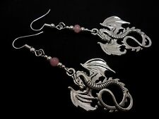 A PAIR TIBETAN SILVER DANGLY DRAGON & PINK JADE BEAD EARRINGS.