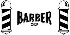 large barber shop front window barbers pole vinyl sticker sign wall art salon