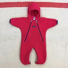 fce639752 Patagonia Baby Medium Pink & Blue All Fleece Hooded One Piece Bodysuit