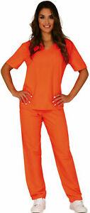 Womens Prisoner Costume Orange Top Trousers Convict Halloween Fancy Dress outfit