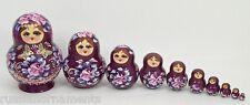 10 pcs Russian Nesting Doll - Matryoshka #3409 BURGUNDY