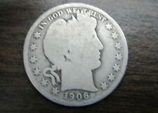 OLDIE and Nice 1906-D BARBER or LIBERTY HEAD SILVER 50 Cent Coin 113 years old!