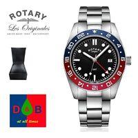 Rotary GB03013/04 Men's Henley GMT Sapphire Black Dial Bracelet Watch RRP £250