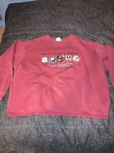 Men's Vintage Walt Disney World Embroidered Quote Red Crewneck Sweater Size XXL