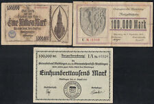 3x Waiblingen, Weinsberg + Ulm: 2x 100.000 + 1 Million Mark 1923