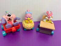 Lot of 3 Applause Tiny Toon Figures Vehicles Sweetie Babs Bunny Dizzy Devil 1990